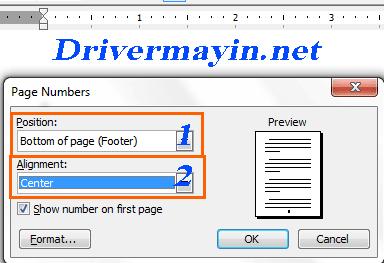 Setup Cách đánh số trang trong word 2003