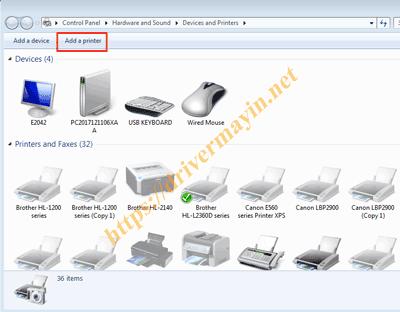 cài đặt driver máy in từ trình điều khiển Devices and Printers 1