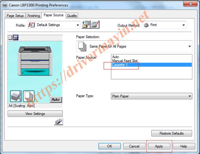 Cách Tắt chế độ kiểm tra giấy Máy in Canon LBP 3300 4