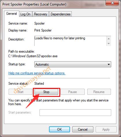 không kết nối được máy in, tắt Print Spooler Service
