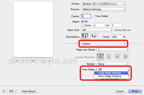Cách in Hai mặt tự động ở Máy in Brother HL L2361DN cho Mac
