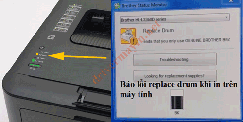 Reset Drum Máy in Brother HL L2321D - Sửa lỗi Replace Drum 1
