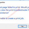 Cách sửa lỗi Test page failed to print, Unable to create a print job