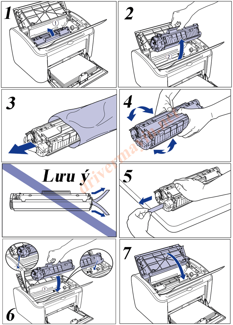 Cách thay mực máy in Canon 2900