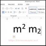 Ký hiệu m2 trong word